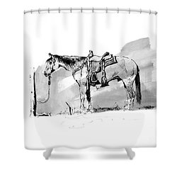Cow Horse Hitched Shower Curtain