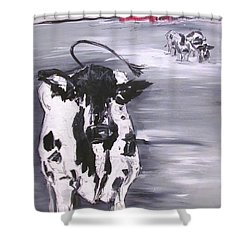 Cow In Winter Shower Curtain