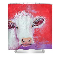 Cow Painting - Charolais Shower Curtain