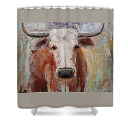 Cow Painting Longhorn Steer Country Farm House Art Shower Curtain