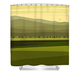 Cow Pass Spring Green Shower Curtain