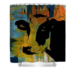 Cow Sunset Rainbow 2 - Poster Print Shower Curtain