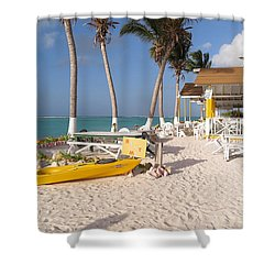 Shower Curtain featuring the photograph Cow Wreck Bay Beach Bar 2 by Eric Glaser