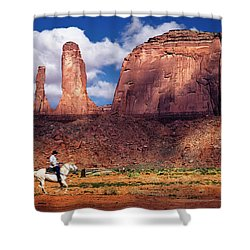 Shower Curtain featuring the photograph Cowboy And Three Sisters by William Lee