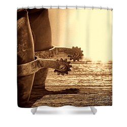 Cowboy Boots And Riding Spurs Shower Curtain by American West Legend By Olivier Le Queinec