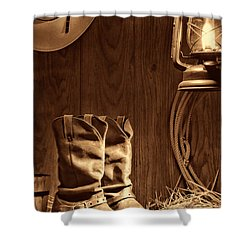 Cowboy Boots At The Ranch Shower Curtain by American West Legend By Olivier Le Queinec