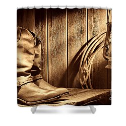 Cowboy Boots In Old Barn Shower Curtain