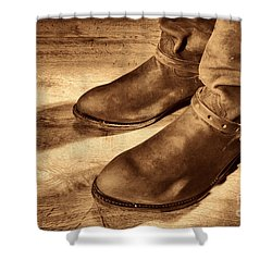 Cowboy Boots On Saloon Floor Shower Curtain