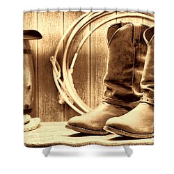 Cowboy Boots On The Deck Shower Curtain