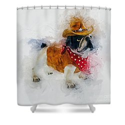 Cowboy Bulldog Shower Curtain