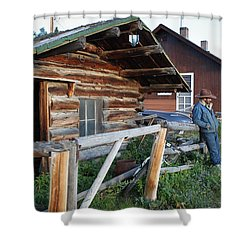 Cowboy Cabin Shower Curtain by Diane Bohna