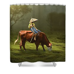 Shower Curtain featuring the mixed media Cowboy Cow Boy by Marvin Blaine
