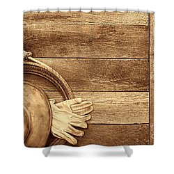 Cowboy Gear On The Floor Shower Curtain by American West Legend By Olivier Le Queinec