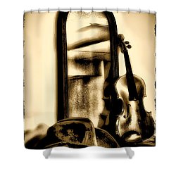 Cowboy Hat And Fiddle Shower Curtain by Bill Cannon