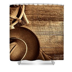 Cowboy Hat And Gear On Wood Shower Curtain