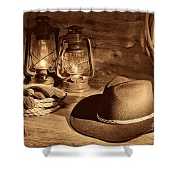 Cowboy Hat And Kerosene Lanterns Shower Curtain by American West Legend By Olivier Le Queinec