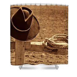 Cowboy Hat And Rope On A Fence Shower Curtain by American West Legend By Olivier Le Queinec