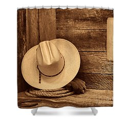 Cowboy Hat In Town Shower Curtain by American West Legend By Olivier Le Queinec
