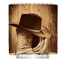 Cowboy Hat On Boots Shower Curtain by American West Legend By Olivier Le Queinec