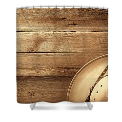 Cowboy Hat On Wood Table Shower Curtain