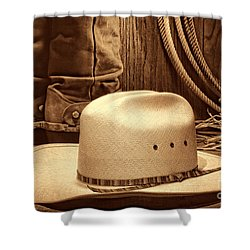 Cowboy Hat With Western Boots Shower Curtain by American West Legend By Olivier Le Queinec
