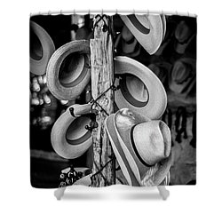 Shower Curtain featuring the photograph Cowboy Hats At Snail Creek Hat Company by David Morefield