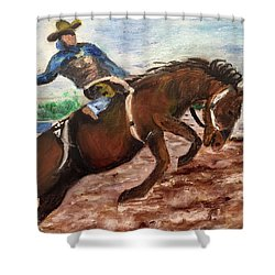 Cowboy In A Rodeo Shower Curtain