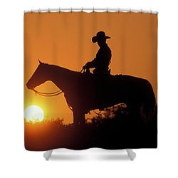 Cowboy Sunset Silhouette Shower Curtain