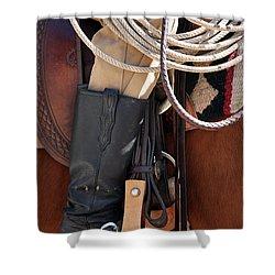 Cowboy Tack Shower Curtain by Joan Carroll