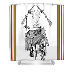 Shower Curtain featuring the drawing Cowboy Tribute by Jack Pumphrey