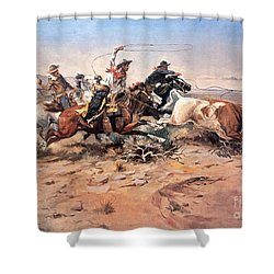 Cowboys Roping A Steer Shower Curtain by Charles Marion Russell