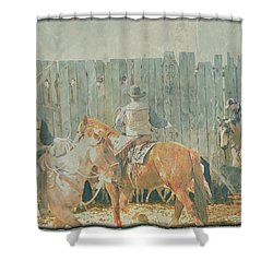 Cowboys Working The Spring Calves Shower Curtain