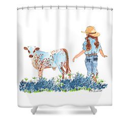 Cowgirl Calf In The Bluebonnets Pe005 Shower Curtain