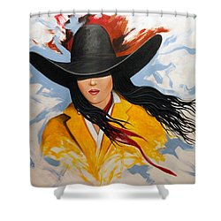 Shower Curtain featuring the painting Cowgirl Colors #3 by Lance Headlee