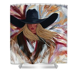 Shower Curtain featuring the painting Cowgirl Colors by Lance Headlee