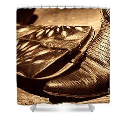 Cowgirl Gator Boots Shower Curtain by American West Legend By Olivier Le Queinec