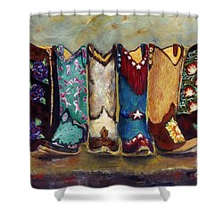 Cowgirls Kickin The Blues Shower Curtain by Frances Marino