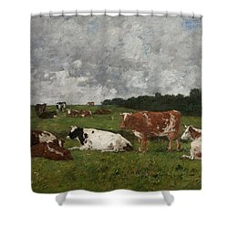 Cows At The Pasture Shower Curtain by Eugene Louis Boudin