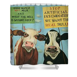 Cows On Strike Shower Curtain by Leah Saulnier The Painting Maniac
