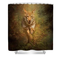 Shower Curtain featuring the digital art Coyote Energy by Nicole Wilde