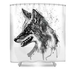 Shower Curtain featuring the mixed media Coyote Head Black And White by Marian Voicu