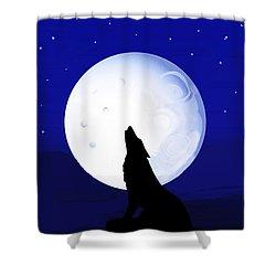Shower Curtain featuring the digital art Coyote Moon - Tucson, Arizona by Vagabond Folk Art - Virginia Vivier