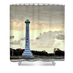 Cozumel Lighthouse Shower Curtain