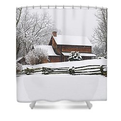 Cozy Snow Cabin Shower Curtain by J K York