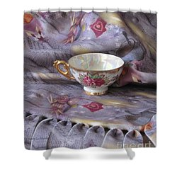 Shower Curtain featuring the photograph Cozy Time With Tea And Fleece Blanket by Nancy Lee Moran