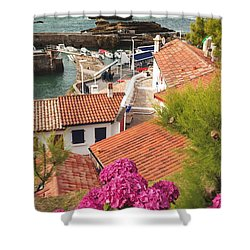 cozy tourist town on the Bay of Biscay Shower Curtain