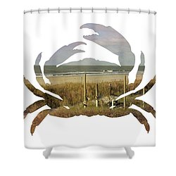 Crab Beach Shower Curtain