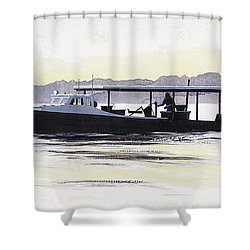 Crab Boat Slick Calm Day Chesapeake Bay Maryland Shower Curtain