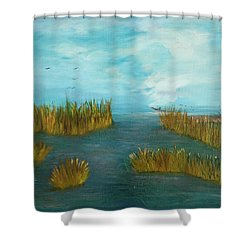 Crab Lady Landing In Big Lake Shower Curtain