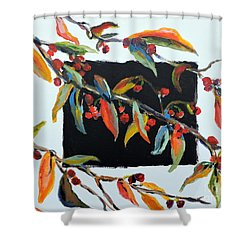 Crabapple Branches With Black Shower Curtain